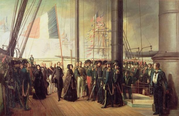 Queen Victoria I, received aboard the steamer 'Le Gomer' by the Rear Admiral Lasusse, 15th October 1844
