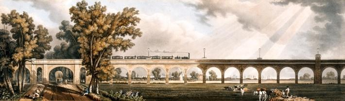 London to Greenwich Railroad showing the viaduct, engineered by George Landman