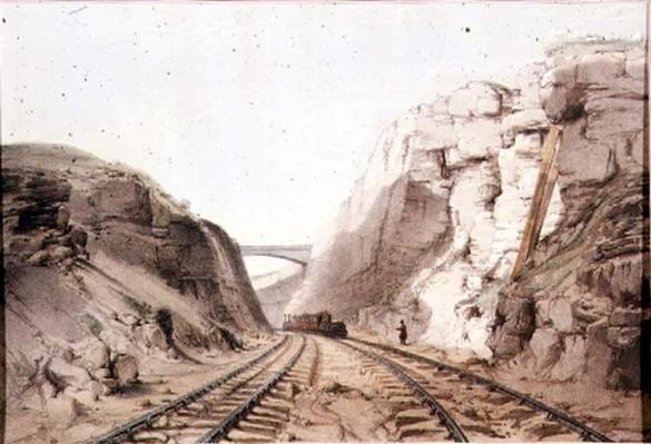 Blisworth, Northants, the railway cutting through rock at Bilsworth - typical of early British railroad engineering, published by R. Ackermann, 1831