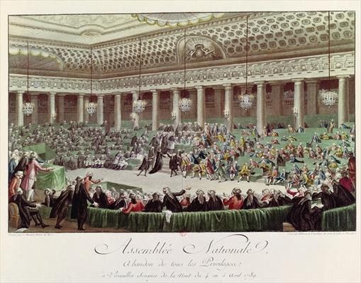 The National Assembly Renounces all Privileges, 4th August 1789, engraved by Helman