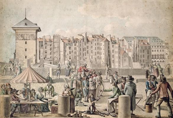 Mountebanks and Promenaders on the Pont au Change, Paris c.1790