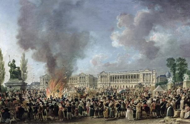 The Celebration of Unity, Destroying the Emblems of Monarchy, Place de la Concorde, 10th August 1793