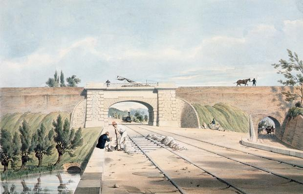 North Midland line under the Cromford Canal at Bull Bridge, published by Day & Haghe