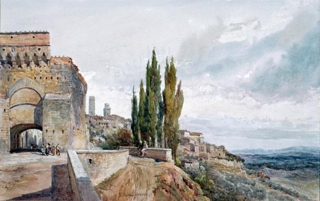The Ruins of the Roman Theatre at San Gimignano, 19th century