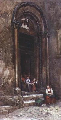 The side door of the Church of Santa Guiliana at Aquila degli Abruzzi