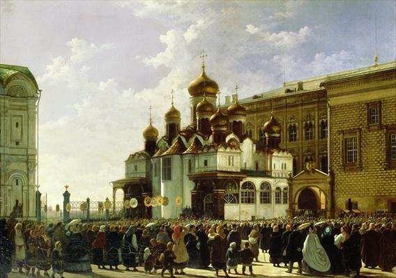 Easter procession at the Maria Annunciation Cathedral in Moscow, 1860