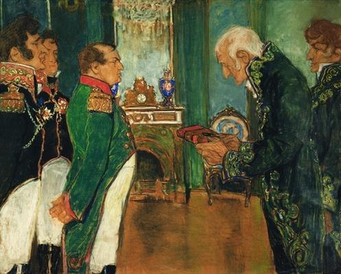 Jean-Baptiste de Lamarck handing the book 'Zoological Philosophy' to Emperor Napoleon Bonaparte, 1920