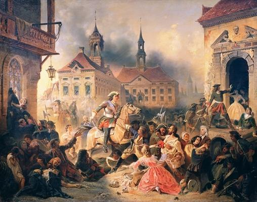 Peter the Great conquers Narva in 1704, 1859