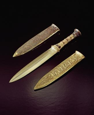 Gold dagger and sheath, from the Tomb of Tutankhamun