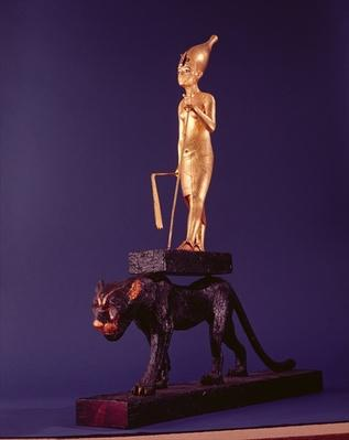 Statuette of the king upon a leopard. from the Tomb of Tutankhamun
