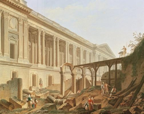 Demolition of the Hotel de Bourbon and clearing the Louvre Colonnade, c.1764