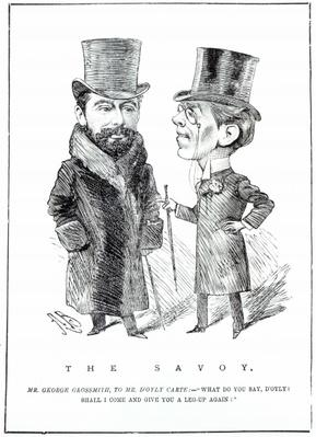 George Grossmith Jnr. and Richard D'Oyly Carte at 'The Savoy', published in 'The Entr'acte', March 31st 1894