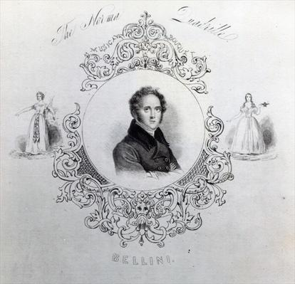 Cover of Sheet Music for a Quadrille, with a portrait of Vincenzo Bellini