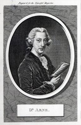 Dr. Arne, engraved for 'The Universal Magazine', 1787