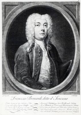 Francesco Bernardi Senesino, engraved by Elisha Kirkall