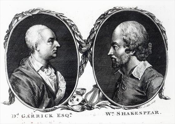 David Garrick and Shakespeare, engraved by J. Miller