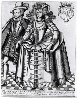 Robert Carr, Earl of Somerset and his wife Frances Howard, engraved by Renold Elstrack, c.1615-16