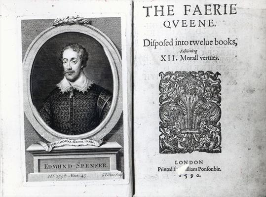 Portrait of Edmund Spenser and the frontispiece to his poem 'The Faerie Queene' , originally published in 1590