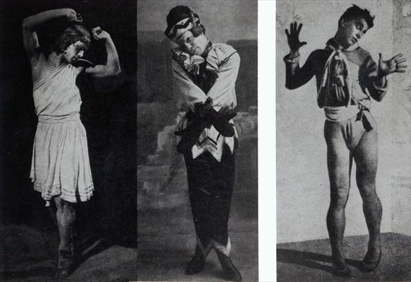 Vaslav Nijinsky in the role of Narcisse, Petrouchka and Till Eulenspiegl, c.1911-16