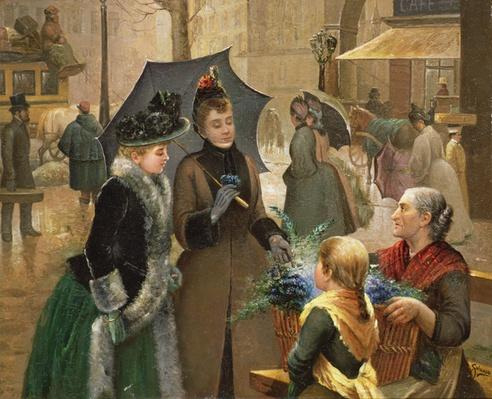 Buying flowers, 19th century