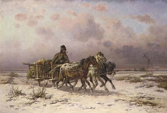 A peasant in a sledge driving three horses