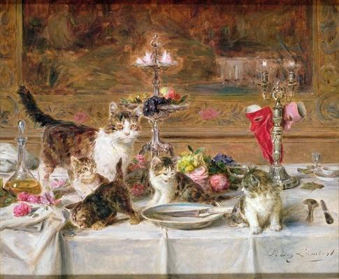Kittens at a banquet, 19th century