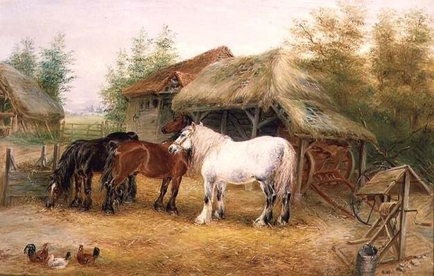 Carthorses in a farmyard