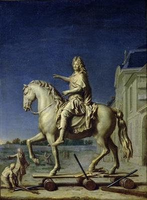 Transporting the Equestrian Statue of Louis XIV to the Place Vendome in 1699, after 1669