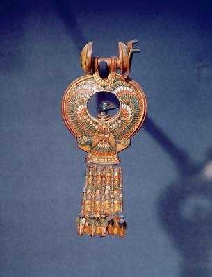 Left earring from a pair earrings with a bluebird, from the tomb of Tutankhamum, Valley of the Kings, Thebes, c.1347-37 BC