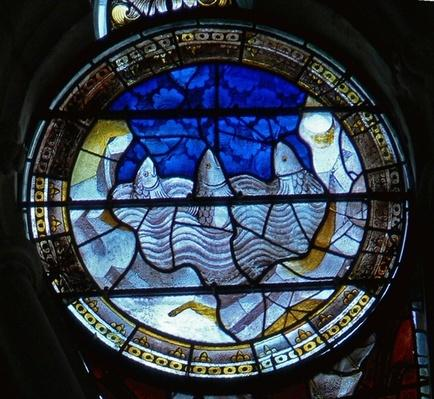 Window depicting the sea monsters crying out