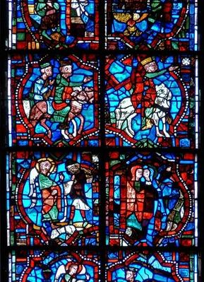 Window depicting scenes from the Childhood of Christ, including the Magi following the star, the Annunciation to the Shepherds and the Visitation