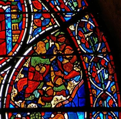 Detail from a window depicting the parable of the Good Samaritan: God creates the angels