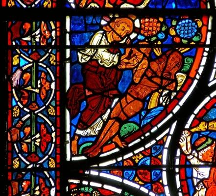 Detail from a window depicting the parable of the Good Samaritan: The creation of Eve