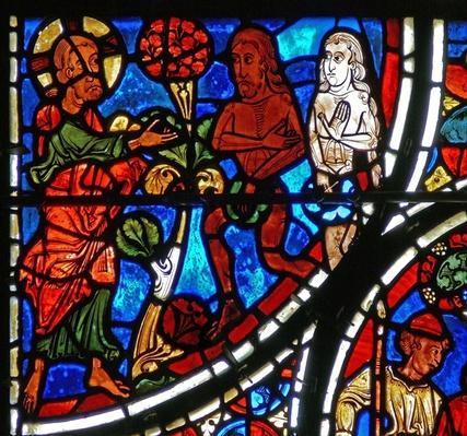 Detail from a window depicting the parable of the Good Samaritan: God confronts Adam and Eve
