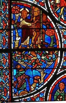 Detail from a window depicting the parable of the Good Samaritan: God casts Adam and Eve out of the Garden of Eden