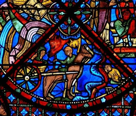 Detail from a window depicting scenes from the life of St. Stephen: horses, cart and demons