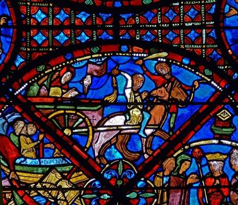 Detail from a window depicting scenes from the life of St. Stephen: horse and cart