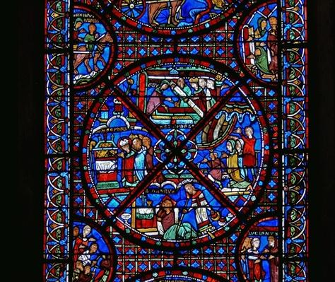 Detail from a window depicting scenes from the life of St. Stephen