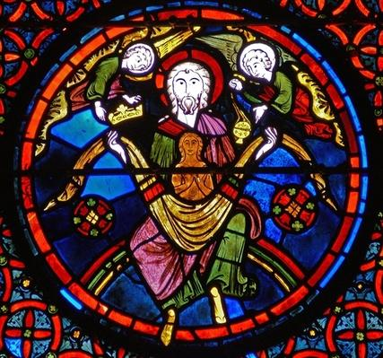 Detail from a window depicting the parable of Lazarus and Dives: Lazarus in the Bosom of Abraham