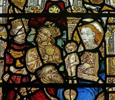 Detail from a window depicting the Adoration of the Magi