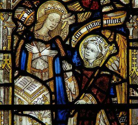 Detail from a window depicting the Annunciation