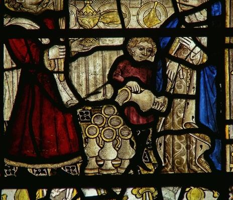 Detail from a window depicting the Wedding at Cana