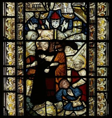 Window depicting Judas' betrayal