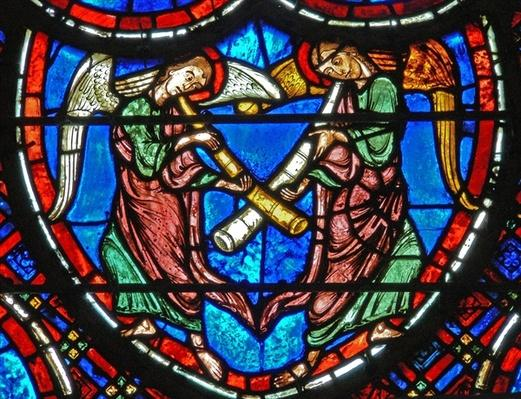 Detail from a window depicting the Last Judgement