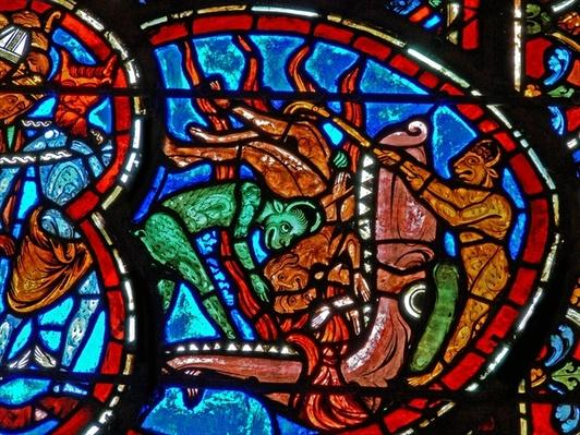 Detail from a window depicting the Last Judgement: the Mouth of Hell