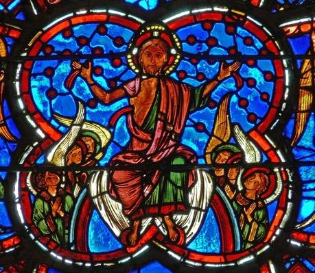 Detail from a window depicting the Last Judgement: Christ