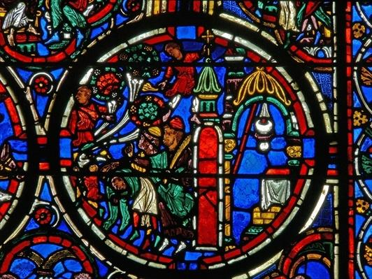 Detail from a window depicting the Passion: Christ being greeted on his entry to Jerusalem