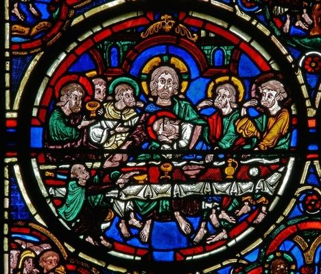 Detail from a window depicting the Passion: the Last Supper