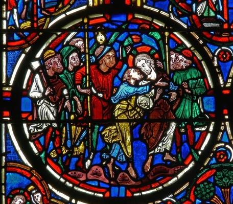 Detail from a window depicting the Passion: Judas' betrayal