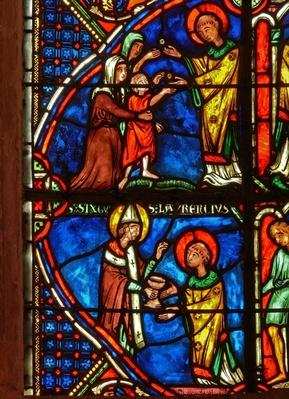 Detail from a window depicting scenes from the life of St. Laurence